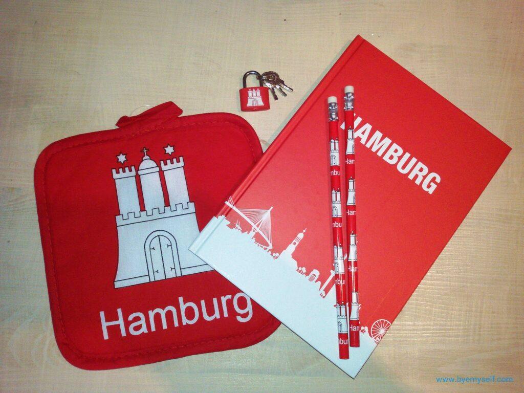 Hamburg-themed merchandise from Budnikowsky in Hamburg