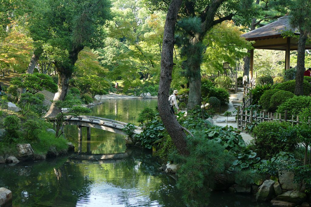 The Shukkeien gardens where the Prefectural Art Museum of Hiroshima is located and where the Kagura nights take place