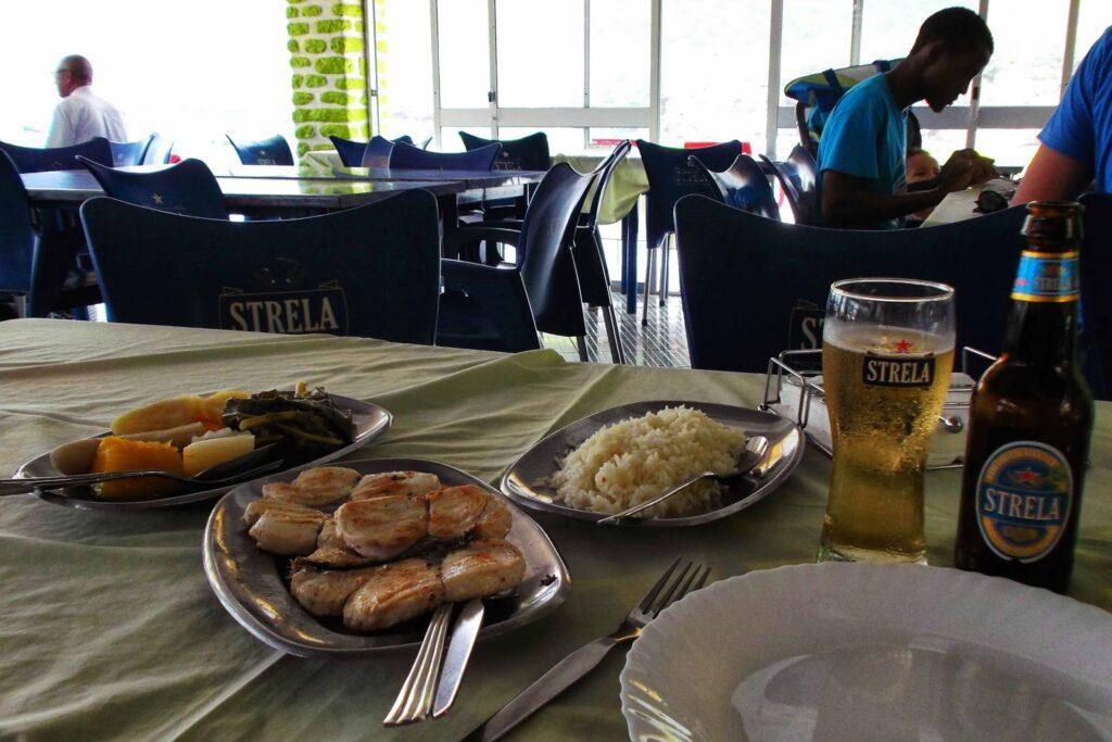 Food at a restaurant at Baia Verde in Tarrafal