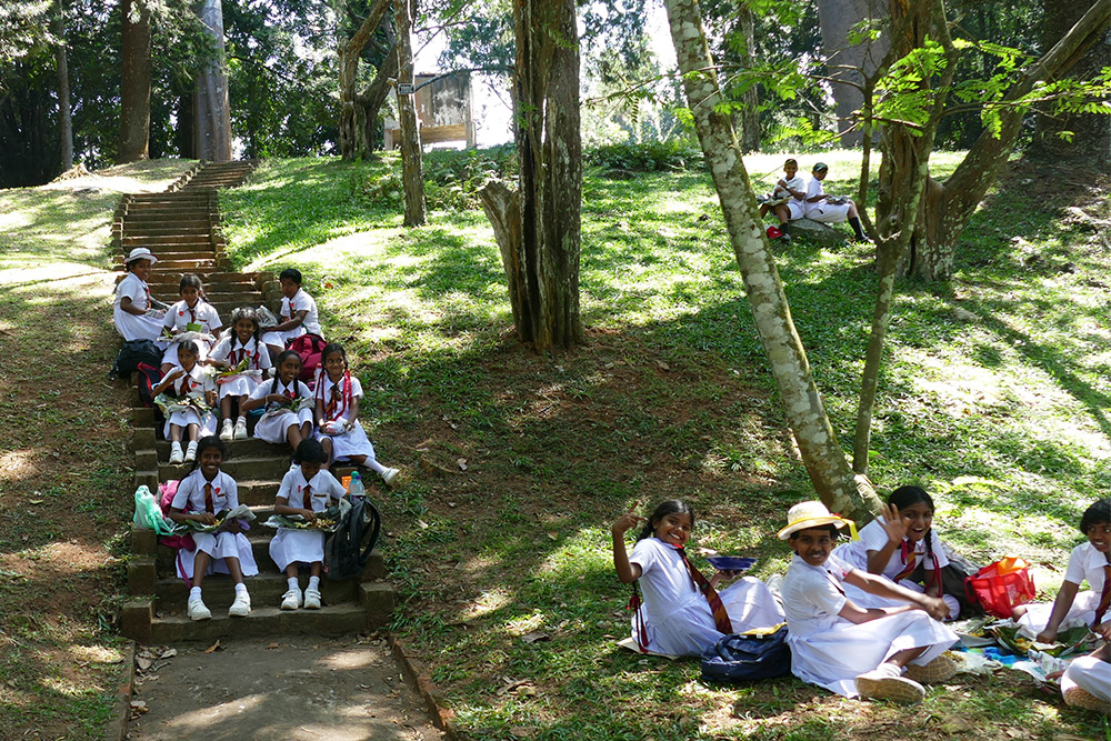 School kids at the Botanic Garden in Kandy