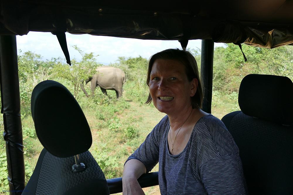 Renata Green in a Jeep on a Safari