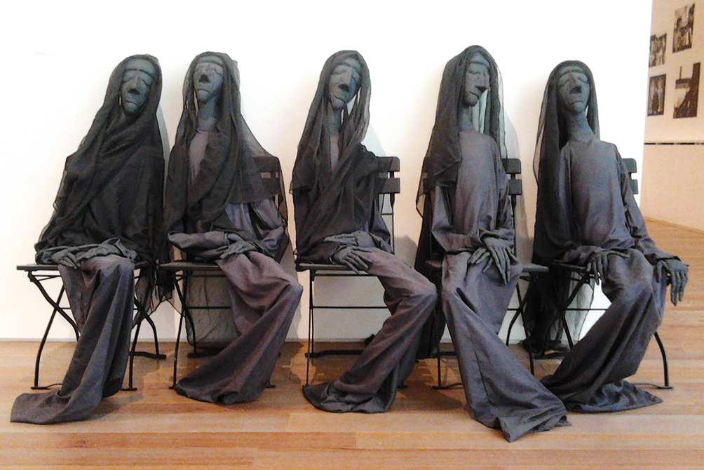 Five widows sculpture by Eva Aeppli, Tinguely's wife, at the Tinguely museum in Basel
