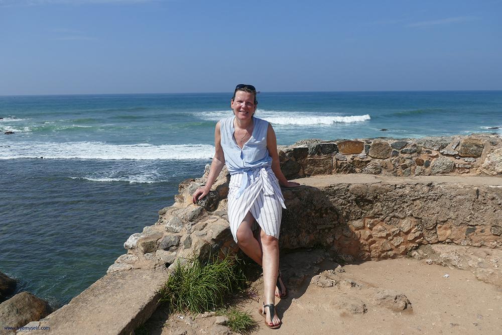 Renata Green on Flagrock in Galle Fort Sri Lanka