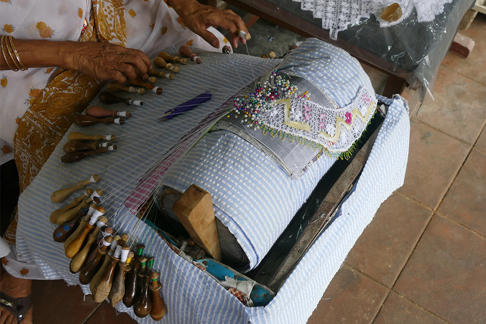 Lacemaking in Galle Fort Sri Lanka