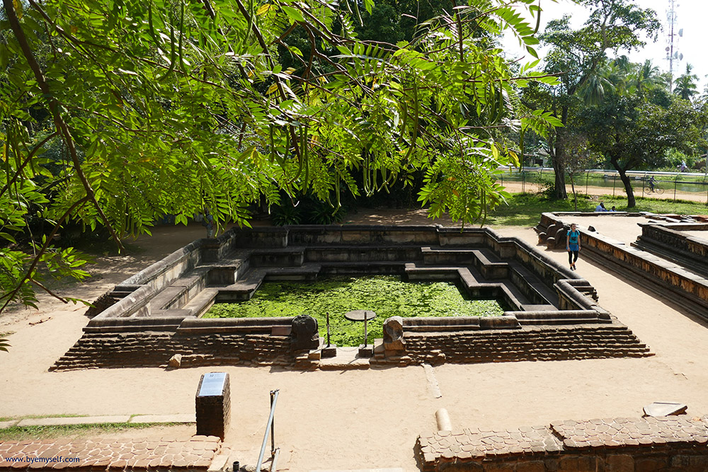 The Kumara pond behind the large the Council Chamber in Polonnaruwa