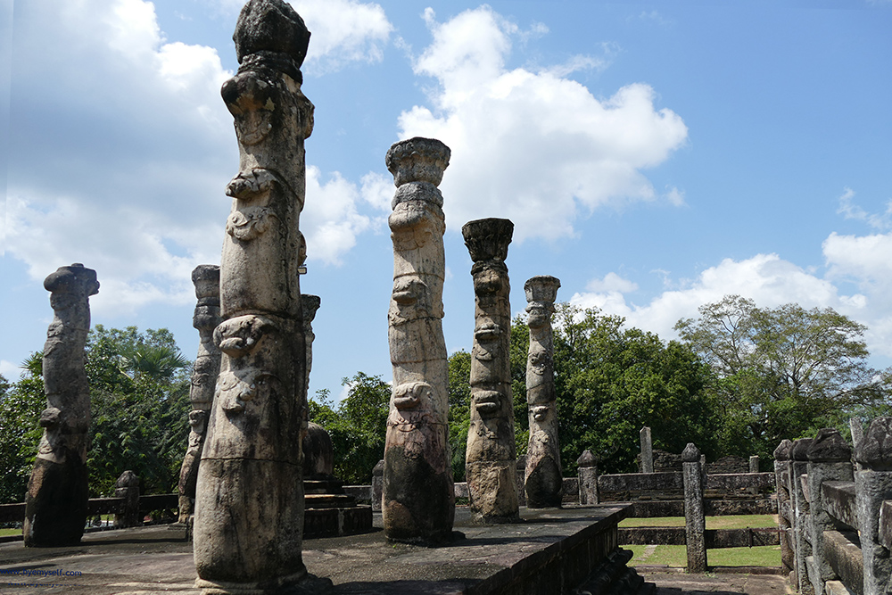 Beautifully carved pillars in the shape of lotus stems.
