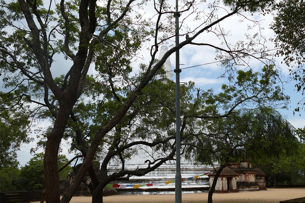 The white Kiri Vihara with colorful flags.