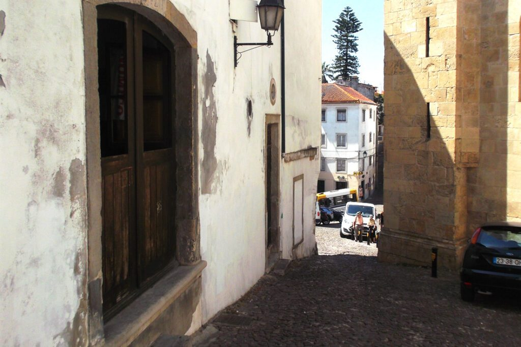 Steep cobblestone alleys in Coimbra