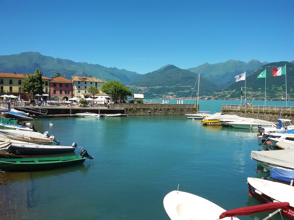 Sail and motorboats quay at Colico, the Northernmost village at Lago di Como - a lake to like